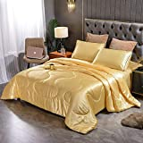 Sisher 3PCS Stain Silky Queen Size Comforter Sets ,Solid Soft Bedding Quilt Set, Microfiber Comforter with 2 Matching Pillowcases,Gold