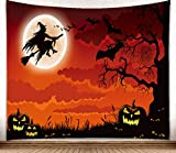 M maoav Tapestry Wall Hanging, Halloween Lovely Fun Witch Pumpkin Crow Wall Tapestry, Wall Art Decoration for Bedroom Living Room Dorm, 59' X 51'