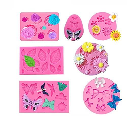 TROYSINC 7 moldes de silicona para fondant y tartas, diseño de rosas en 3D, para decoración de tartas, herramientas de horneado