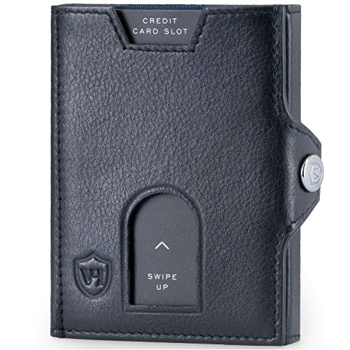 VON HEESEN Billetera fina – Protección RFID certificada por TÜV – Cartera de piel auténtica – Cartera de piel para hombre y mujer – Mini cartera cartera cartera cartera tarjetero