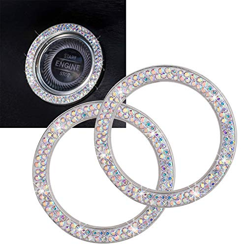 ToBeQueen Car Crystal Ring Sticker Multicolor Bling Ring Car Interior Emblem,2 Pcs Crystal Ring Car Decal Start Engine Ignition Button for Women Girl Rhinestone Bling Car Accessories Colorful