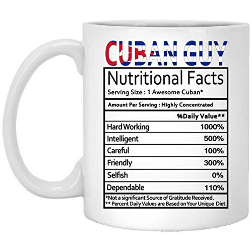 Not Applicable Regalos cubanos Individuo Cubano Etiqueta de Datos nutricionales Regalo de mordaza Taza de café Taza de té Blanco 11 Oz - Cumpleaños Genial Hombres Mujeres