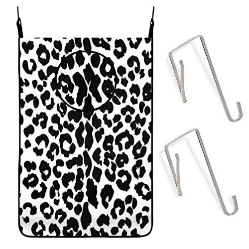 Quintion Cooper Cesto para colgar en la puerta, diseño de leopardo, ideal para ahorrar espacio, en la pared, para guardar ropa sucia, con cremalleras inferiores, ganchos para baño, dormitorio