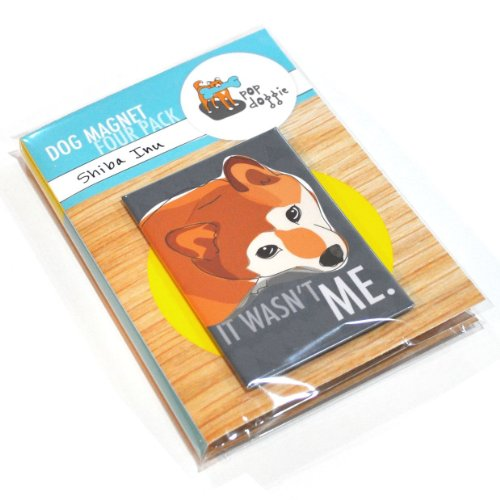 Pop Doggie Shiba Inu Set I Refrigerator Magnets with Funny Sayings (Set of 4)