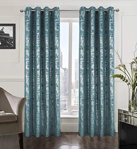 Alexandra Cole Soft Velvet Curtains 84 Inch Length Luxury Bedroom Curtains Silver Foil Print Window Curtains for Living Room Set of 2 Teal