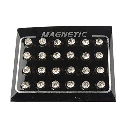 Colcolo 12 Pares de Cristal No Piercing Clip Magnético Imán Magnético Pendientes 6mm - 5 mm Blanco (12 Pares)