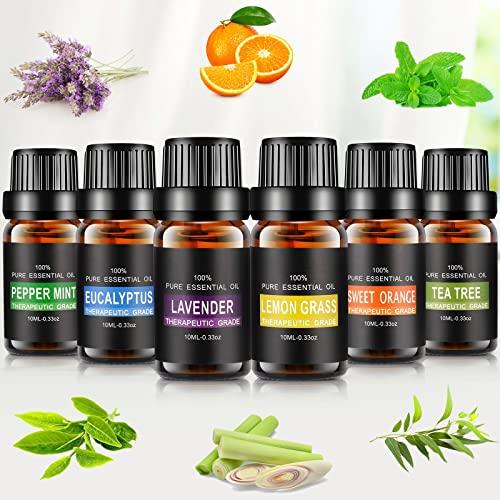 Aceites Esenciales, joylink 100% Natural Puro, 6 x 10 ml Set de Aceites Esenciales(Lavanda, Menta, Naranja Dulce, Eucalipto, Arbol de Té, Hierba de Limón)