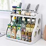 Qisiewell Gewürzregal 2 Ebenen Gewürzständer für Küchenschrank und Arbeitsfläche Küchen-Organizer für Gewürzgläser Dosen und Flaschen 38 x 24,5 x 31,5 cm Grau