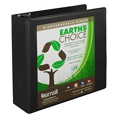 Samsill Earth's Choice Biobased Durable 3 Ring View Binder, 3 Inch Round Ring, Up to 25% Plant Based Plastic, USDA Certified Biobased, Black