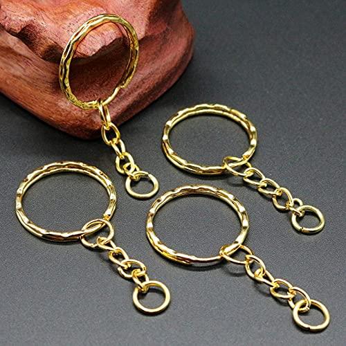 PPuujia Llavero chapado en oro de 50 unidades, 1,3 x 25 mm, con cadena de 4 eslabones de 55 mm de largo, llaveros de metal, llavero y accesorio para llavero (color chapado en oro 50 piezas)