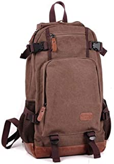 Canvas Backpack Bag with Buckles Decoration Large-Capacity Casual Backpack Fashion Trend Travel Bag (Color : Brown, Size : S)