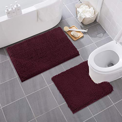 MAYSHINE Bathroom Rug Toilet Sets and Shaggy Non Slip Machine Washable Soft Microfiber Bath Contour Mat (Burgundy, 32x20 / 20x20 Inches U-Shaped)
