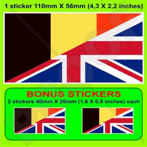 BELGIQUE-Royaume-Uni Drapeau, Belge-Britanique Union Jack, Royaume-Uni, 110mm Vinyle Autocollant, x1+2 BONUS Stickers