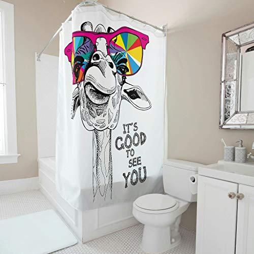 Gamoii Schön Dich zu sehen Tier Giraffe Duschvorhang Bad Vorhang 3D Druck Badezimmer Gardinen Polyestergewebe Duschvorhänge mit Duschvorhangringe White 150x200cm