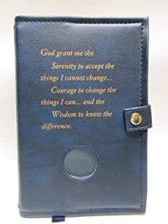 Deluxe Double Alcoholics Anonymous AA Big Book & 12 Steps & 12 Traditions Book Cover Medallion Holder Blue