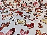 Sommersweat Stoff mit Schmetterlingen auf Weiß als