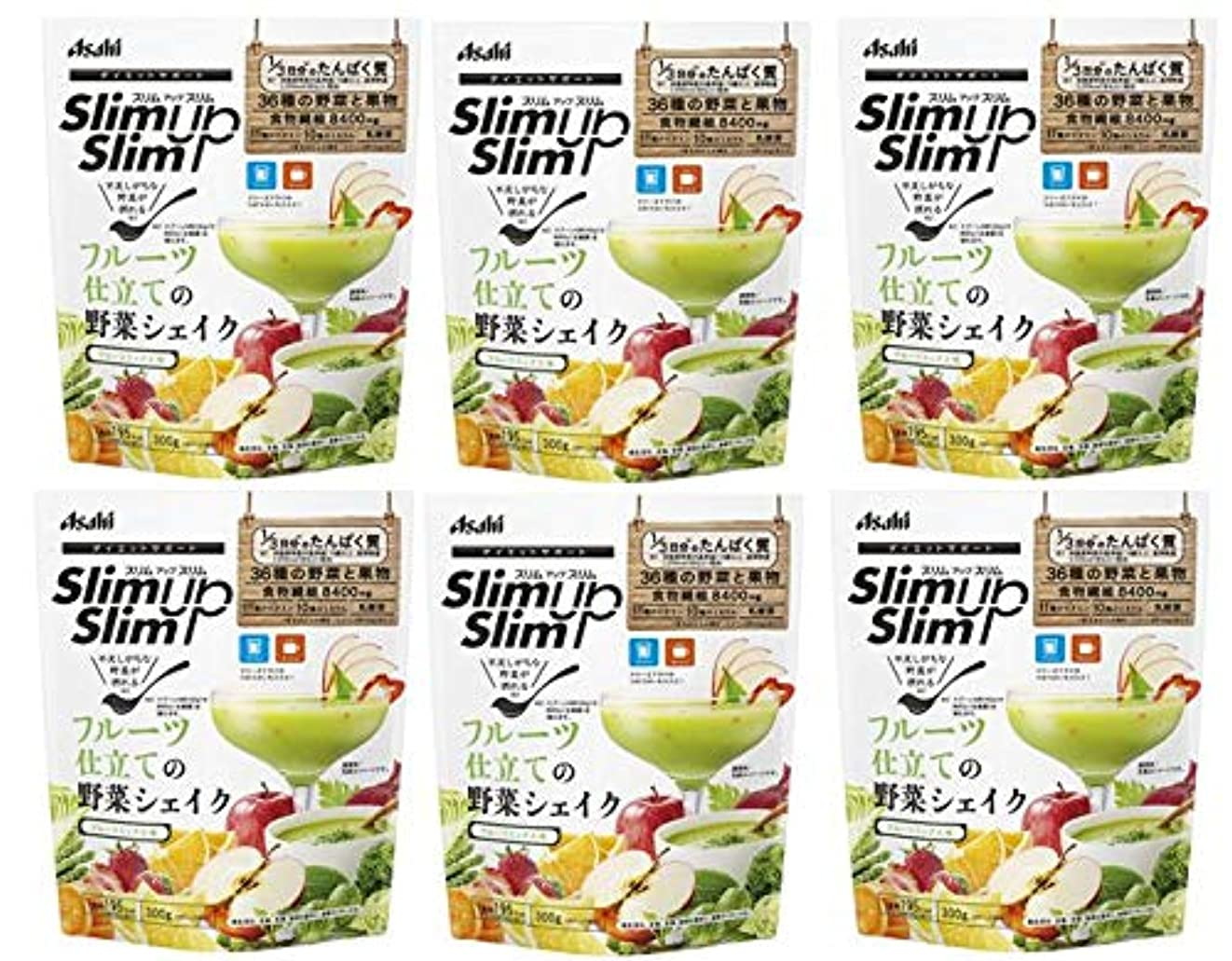 シンプルな明快真っ逆さまアサヒグループ食品 スリムアップスリム フルーツ仕立ての野菜シェイク 300g X6個セット