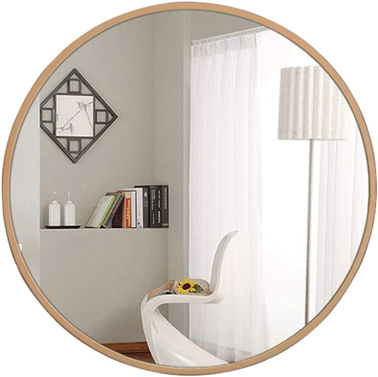 Round Mirror Bathroom Mirror Diameter 50cm 60cm 70cm Bathroom Makeup Mirror Wall-Mounted Nordic Style Aluminum Frame Hd Mirror Environmentally Friendly and Durable