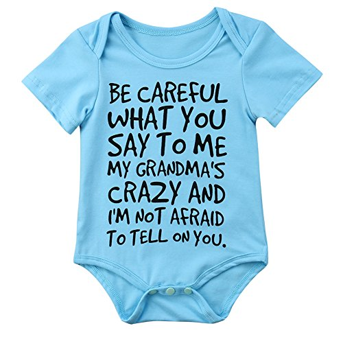 Charm Kingdom Baby Boy Girl be Careful What You Say to me My Grandmas Crazy Bodysuit (100 (18-24M), Blue)
