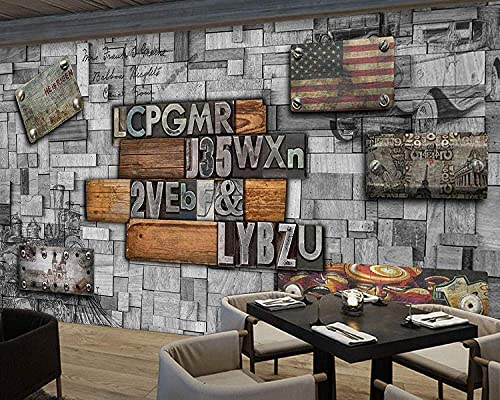 Life Accessories 3D Vintage Wood Striped Frame Painting Creative Gear Bricks Theme West Restaurant Cafe Background Mural