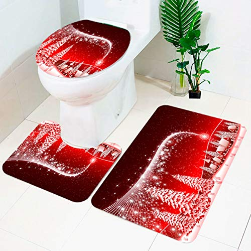 Christmas Bath Mats Set,3 Piece Bathroom Mats Set | | Non-Slip Bathroom Rugs + Contour Mat + Toilet Cover For Christmas decorations,Elegant Soft Bathroom Rugs Set with Christmas Tree Printed
