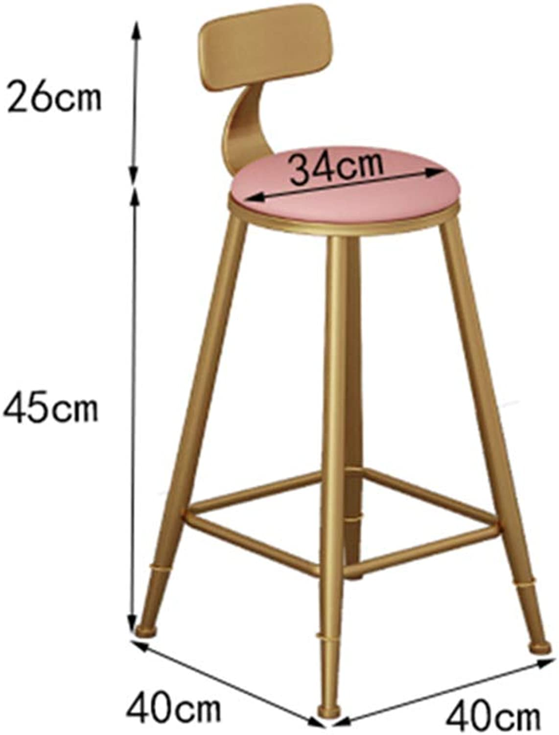 Bar Stool, bar Chair, Wrought Iron high Stool, Cafe, Kitchen Chair HPLL (color   Pink, Size   34  40  71cm)