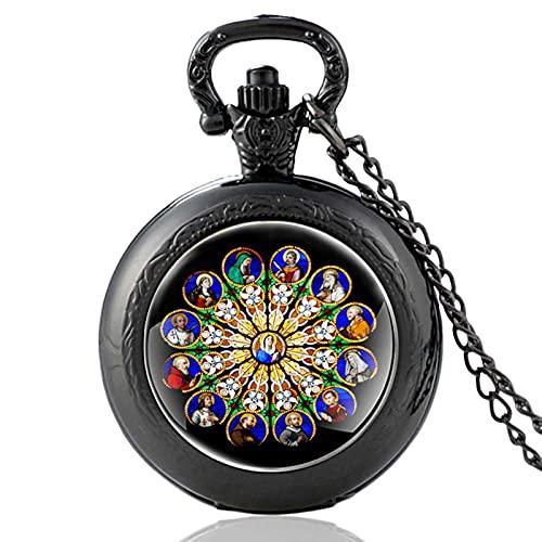 TUDUDU Blessed Virgin Mary Design Reloj De Bolsillo De Cuarzo Vintage Negro Reloj Colgante Reloj Hombres Mujeres Collar De Cúpula De Vidrio Regalos Longitud De Cadena Aproximadamente 80 Cm