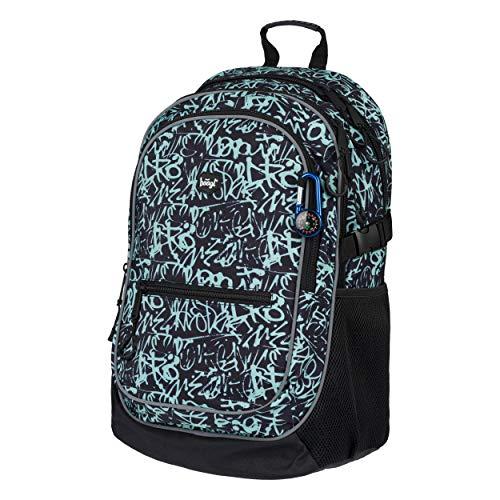 Baagl Schulrucksack für Jungen, Mädchen - Schulranzen für Kinder mit ergonomisch geformter Rücken, Brustgurt und reflektierende Elemente (Graffito)