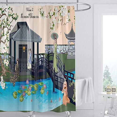 DLSM Edificio Gris pequeño río Tinta Pintura patrón hogar baño decoración baño Sucio Cortina de Ducha-El 120x180cm Poliéster Cortinas de Baño Decorativas Impermeable