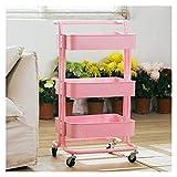 ZYFang 3 Ebenen Servierwagen, Regal Küche Bastelwagen Mit 3-Fach-Ablagekorb Für Restaurant Küche Wohnzimmer (Color : Pink, Size : 18 * 14 * 34In)
