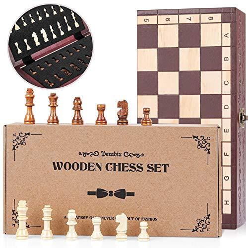 Peradix Schachspiel aus Holz, Schach klappbar Schachbrett 29x29cm - Handgefertigt Schach Set für Familie Geschenk Reisen Kinder und Erwachsene(Nicht magnetisch)