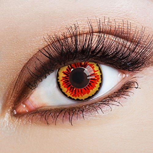 aricona Kontaktlinsen - farbige Kontaktlinsen im Steampunk Design - Orange-gelbe Kontaktlinsen ohne Stärke als besonderes Halloween oder Steampunk Accessoire