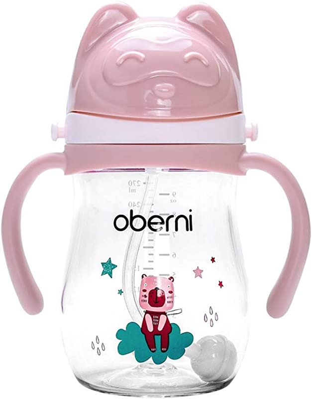 Ocamo Baby Drink Cup With Handle And Strap Sippy Cup 270ml Large Capacity 270 Ml Pink