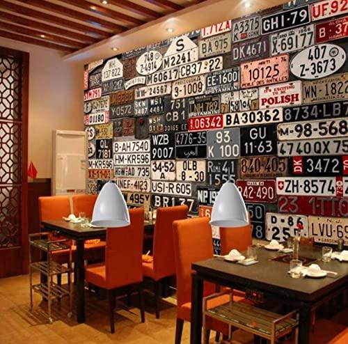 Mural 3D Estados Nostálgico Retro Matrícula Fondo Restaurante Tienda Murales-3D_Los 400x280cm