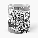 5TheWay Mini Morris Cooper Mug Best 11 oz Kaffeebecher - Taza de café de Regalo de Moda Superventas Negra, Blanca, Cambia de Color 11 onzas, 15 onzas para Todos