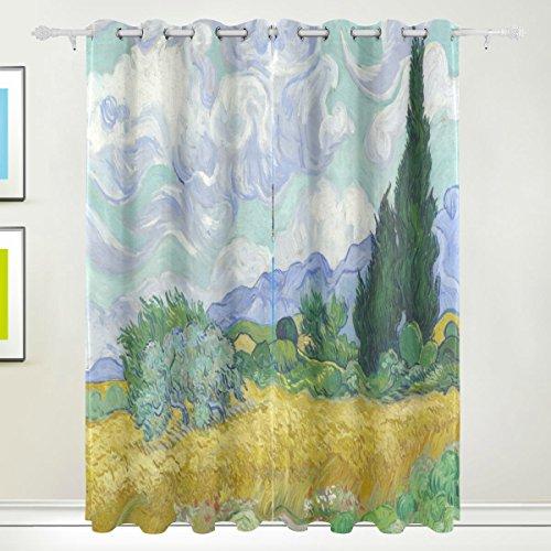 Rideau de fenêtre, Luxe Peinture à l'huile Nature Paysage Impression Isolation thermique épais Super Doux Tissu de polyester Décoration de maison avec œillet 2 panneaux pour chambre à couche