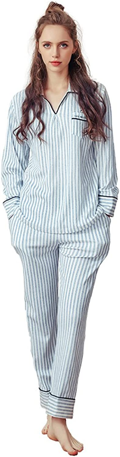 Women's Pure Cotton Pajamas Sexy Striped V collar Long  Sleeved Home Clothing Set ( color   bluee , Size   M )