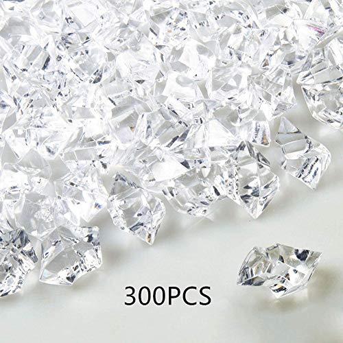 Warooma transparente Fake Crushed Ice Rocks, 300 Stück Acryl Künstliche Crushed Ice künstliche Rock Diamanten Kristalle für Tisch Streuung Vase Füllung Event Hochzeit Geburtstag Dekoration