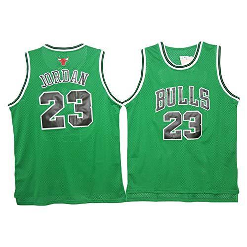LITBIT Baloncesto para Hombre NBA Jersey Bulls 23# Jordan Retro 2021 Transpirable Secado rápido Resistente al Desgaste Vestima sin Mangas Top para Deportes,Verde,L