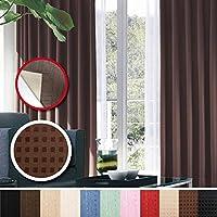 窓美人 センチュリオン 完全遮光 特殊コーティングカーテン 幅100×丈200cm 2枚入り ブラウン ドット柄