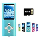 MP3 Player MP4 Player with a 32GB Micro SD Card, Runying Portable Music Player Support up to 64GB, Mini USB Port 1.8 LCD, with Photo Viewer, E-Book Reader, Voice Recorder & FM Radio Video(32GB Blue)