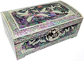 Mother of Pearl Inlay Crane and Moon Design Lacquer Decorative Wooden Handcrafted Black Velvet Jewelry Trinket Keepsake Treasure Box Case Chest Organizer