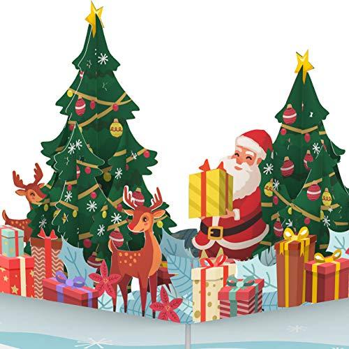 PaperCrush® Pop-Up Karte Weihnachten - 3D Weihnachtskarte mit Weihnachtsmann und Rentieren für Kinder, Frauen und Männer - Handgemachte Popup Weihnachtsgrußkarte für Freundin, Mutter oder Oma