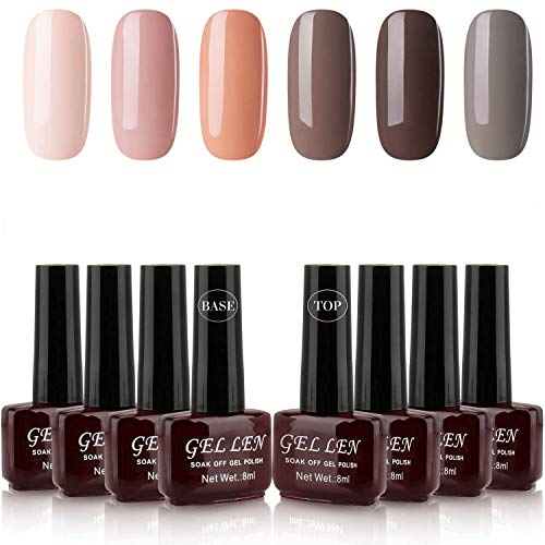 Gellen Gel Colors Nail Polish Kit 6pcs (Nude Peach And Coffee Grays) With Base Coat Top Coat - Popular Nail Art Home Gel Manicure Set