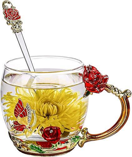 Qinhai Enamel Butterfly Flower Tea Cup, Glass Coffee Mugs - Gifts for Women, Valentine's Mother's Day Wedding Anniversary Birthday Christmas Present for Mum Wife Her Grandma Teacher Friend (Red)