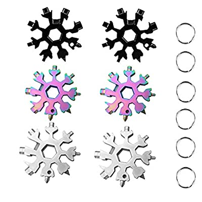 18-in-1 Snowflake Multi-Tool,BERNIE ANSEL Incredible Portable18-in-1 Stainless Steel Snowflakes Multi-Tool Best Gifts for Friends,Family,Children 6 Pack
