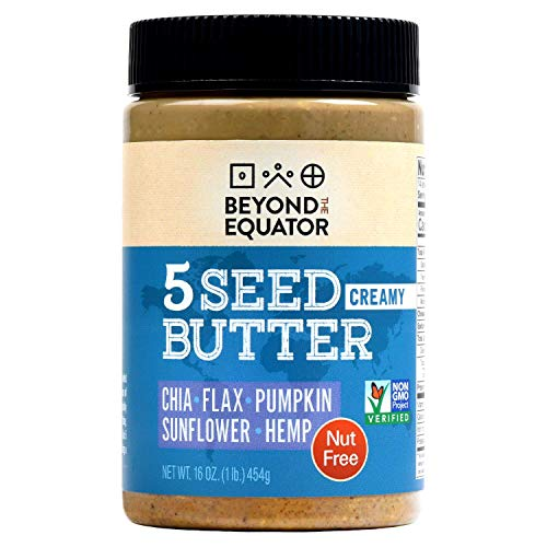Beyond the Equator - 5 Seed Butter [Creamy] 16 Ounces|1 Pack. No Peanuts, No Tree Nuts. Sunflower, Chia, Flaxseed, Pumpkin, Hemp Hearts. Low Carb, Keto, Non-GMO, Omega-3, Omega-6, Allergy-Friendly.