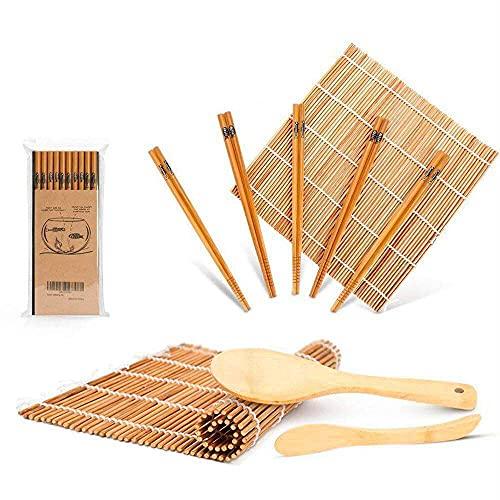 Sushi Making Kit, Sushi Rolling Mats, Chopsticks, Paddle, Spreader