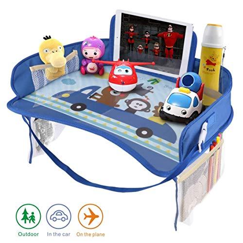 Erlsig Kinder-Reisetablett für Autositz, Aktivitäts- und Spieltablett, Organizer für Kinder und Kleinkinder, Schoßschreibtisch mit Tablet-Handyhalterung, wasserdicht und faltbar (Blau)