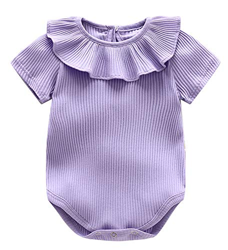 Newborn Baby Girl Headbands Ruffle Romper, Infant Toddler Summer Green Pink Purple Solid Color Onesies for 0 3 6 9 12 18 Months Kids Clothes(602,Purple,59)